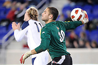 Louisville Cardinals goalkeeper Andre Boudreaux (30) during the semi-finals of the Big East Men's Soccer Championship against the Notre Dame Fighting Irish at Red Bull Arena in Harrison, NJ, on November 12, 2010.
