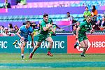 Jimmy O'Brien of Ireland (C) runs with the ball during the match between Ireland and Uruguay on April 7, 2018 in Hong Kong, Hong Kong. Photo by Marcio Rodrigo Machado / Power Sport Images