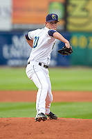 Cedar Rapids Kernels pitcher Brett Lee #20 delivers a pitch during a game against the Kane County Cougars at Veterans Memorial Stadium on June 8, 2013 in Cedar Rapids, Iowa. (Brace Hemmelgarn/Four Seam Images)