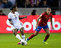 HOUSTON, TX - FEBRUARY 03: Crystal Dunn #19 of the USA passes the ball during a game between Costa Rica and USWNT at BBVA Stadium on February 03, 2020 in Houston, Texas.