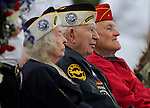 Howard Spreeman, center, a Pearl Harbor survivor, and his wife Rosalyn participate in the annual Memorial Day Ceremony at Lone Mountain Cemetery in Carson City, Nev., on Monday, May 27, 2013. .Photo by Cathleen Allison