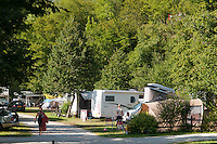 Kobarid, Soca Valley, Julian Alps, Slovenia, July 2012. Kamp Koren Camping is situated on the Soca River next to the Napoleon bridge at Kobarid. Slovenia boasts a very spectacular carstic landscape with high limestone rock formations oozing with waterfalls, and fast flowing cristal clear waters that run through the Soca from the Triglav National Park to the Adriatic Sea. The Julian Alps are a paradise for outdoor adventure and adrenaline sports. The 3 centers for all activities are Bovec, Kobarid and Tolmin. Photo by Frits Meyst/Adventure4ever.com