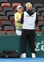 1st February 2018; Brisbane, Australia; BORIS BECKER with Tennis Legend TONY ROCHE AUS Davis Cup 2018