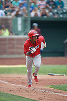 Adrian Rondon (37) of the Orem Owlz hustles to first base against the Idaho Falls Chukars at Melaleuca Field on July 14, 2019 in Idaho Falls, Idaho. The Owlz defeated the Chukars 6-2. (Stephen Smith/Four Seam Images)