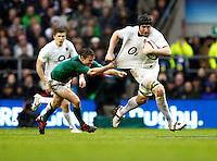 Photo: Richard Lane/Richard Lane Photography. England v Ireland. 17/03/2012. England's Ben Morgan breaks from Ireland's Eoin Reddan.