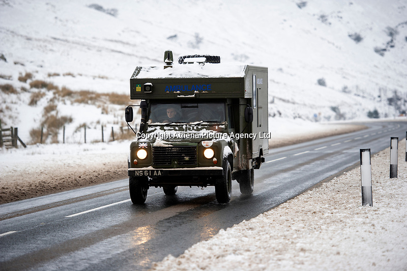 Pictured: A Ambulance drives in the snow at Libanus, in Brecon, Wales, UK. Friday 01 February 2019<br /> Re: Heavy snow and freezing temperatures affecting parts of the UK.