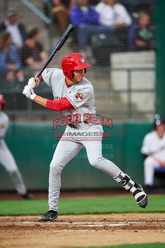 Vancouver Canadians Cameron Eden (27) at bat during a Northwest League game against the Tri-City Dust Devils at Gesa Stadium on August 21, 2019 in Pasco, Washington. Vancouver defeated Tri-City 1-0. (Zachary Lucy/Four Seam Images)