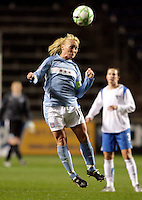 Chicago Red Stars midfielder Frida Ostberg heads the ball.  The Chicago Red Stars defeated the Boston Breakers 4-0 at Toyota Park in Bridgeview, IL on April 25, 2009.