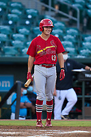 Palm Beach Cardinals Patrick Romeri (13) bats during a game against the Jupiter Hammerheads on May 11, 2021 at Roger Dean Chevrolet Stadium in Jupiter, Florida.  (Mike Janes/Four Seam Images)