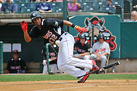 Aaron Hicks (32) of the New Britain Rock Cats bats during a game against the Reading Fightin Phils at New Britain Stadium on July 13, 2014 in New Britain, Connecticut.  Reading defeated New Britain 6-4.  (Gregory Vasil/Four Seam Images)