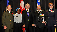 Montreal (Qc) CANADA - Nov 4 2010 - Lawrence Cannon , Minister of Foreign Affairs<br /> , annonce federal support for a new Police school in Haiti.