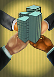 Business people's hands holding office buildings