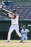 Angel Rosa (3) of the Inland Empire 66ers bats during a game against the Lake Elsinore Storm at San Manuel Stadium on May 27, 2015 in San Bernardino, California. Lake Elsinore defeated Inland Empire, 12-9. (Larry Goren/Four Seam Images)