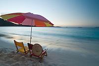 Beach chairs at Trunk Bay at dusk<br /> Virgin Islands National Park