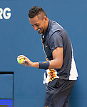 September 1,2018:   Nick Kyrgios (AUS) loses to Roger Federer (SUI) 6-4, 6-1, 7-5, at the US Open being played at Billy Jean King Ntional Tennis Center in Flushing, Queens, New York.  ©Karla Kinne/Tennisclix/CSM