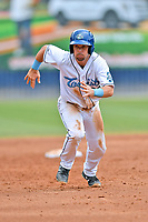 Asheville Tourists Max George (22) runs to third base during a game against the Lakewood BlueClaws at McCormick Field on August 4, 2019 in Asheville, North Carolina. The Tourists defeated the BlueClaws 13-6. (Tony Farlow/Four Seam Images)