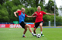 Charlie Estcourt battles with Sophie Ingle of Wales Women during the Wales Women Training Session at the Cardiff International Sports Stadium in Cardiff, Wales, UK. Monday 03 June 2019