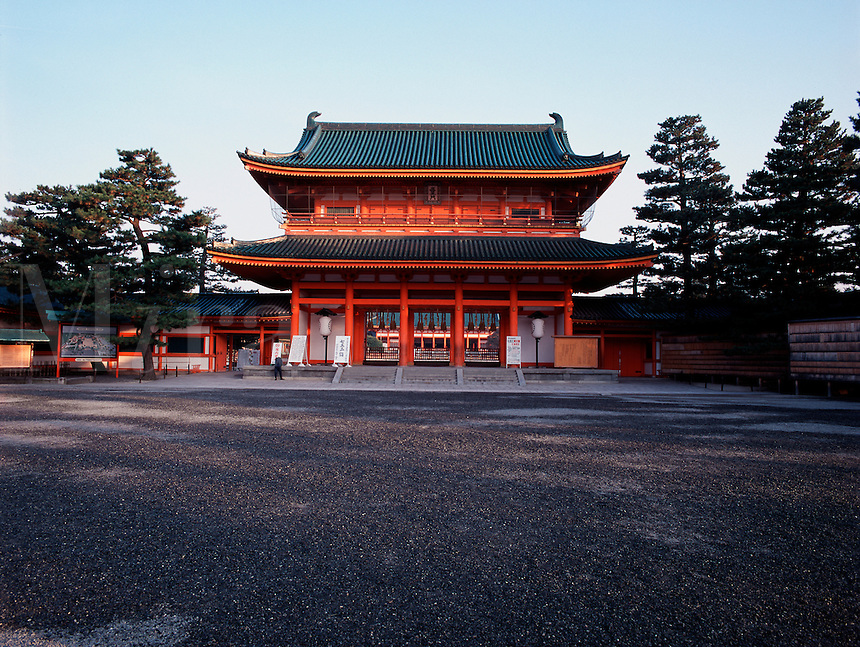 The main entrance to the inner shrine, Heian Shrine, Kyoto, Japan; eary morning