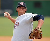 RHP Kyle Necke (38) of the Elizabethton Twins in a game against the Danville Braves on July 16, 2010, at Joe O'Brien Field in Elizabethton, Tenn. Photo by: Tom Priddy/Four Seam Images