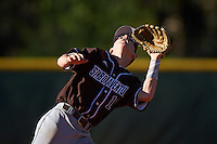 St. Bonaventure Bonnies shortstop Cole Peterson (19) catches a shallow popup fly ball during a game against the Dartmouth Big Green on February 25, 2017 at North Charlotte Regional Park in Port Charlotte, Florida.  St. Bonaventure defeated Dartmouth 8-7.  (Mike Janes/Four Seam Images)