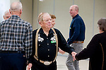SOUTHBURY,  CT-123016JS05-- Hugh Humiston of Southbury, always has a fun time while square dancing every Friday at the Southbury Senior Center. Humiston has been dancing for 70 years. Jim Shannon Republican-American