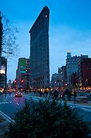 Evening photo of the Flatiron building and Madison square