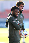 Atletico de Madrid's Thomas Lemar (l) and Diego Costa during training session. October 15,2020.(ALTERPHOTOS/Atletico de Madrid/Pool)