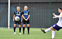 Jody Vangheluwe (22 Brugge) and Elle Decorte (7 Brugge) pictured forming a wall to prevent a free kick going straight during a female soccer game between Club Brugge Dames YLA and RSC Anderlecht Ladies on the fifth matchday of the 2020 - 2021 season of Belgian Scooore Womens Super League , sunday 18 October 2020  in Brugge , Belgium . PHOTO SPORTPIX.BE | SPP | DAVID CATRY
