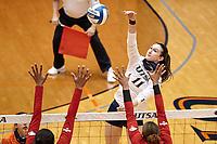 SAN ANTONIO, TX - JANUARY 31, 2021: The University of Texas at San Antonio Roadrunners defeat the University of the Incarnate Word Cardinals 3-2 (25-20, 21-25, 15-25, 25-21, 15-13) at the Historic UTSA Convocation Center (Photo by Jeff Huehn).