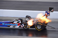 Sept. 14, 2012; Concord, NC, USA: NHRA top fuel dragster driver Cory McClenathan during qualifying for the O'Reilly Auto Parts Nationals at zMax Dragway. Mandatory Credit: Mark J. Rebilas-