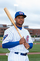 South Bend Cubs outfielder Nelson Velazquez (13) poses for a photo before a Midwest League game against the Cedar Rapids Kernels at Four Winds Field on May 7, 2019 in South Bend, Indiana. (Zachary Lucy/Four Seam Images)