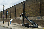Sheerness, Bluetown old port wall with anchor. Isle of Sheppey Kent UK.