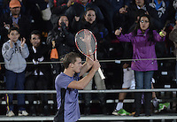 BOGOTA -COLOMBIA. 22-07-2015. Alejandro Gomez (COL) celebra la victoria sobre Marcos Marcos Baghdatis (CYP) en partido de primera ronda del ATP Claro Open Colombia 2015 jugado en el Centro de Alto Rendimiento en Bogota./ Alejandro Gomez (COL) celebratesthe victory over Marcos Baghdatis (CYP) in match for the first round of ATP Claro Open Colombia 2015 played at Centro de Alto Rendimiento in Bogota city. Photo: VizzorImage/ Gabriel Aponte / Staff
