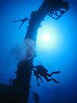 Orchid Island, Taiwan -- Divers at the Ba Dai ship wreck.