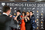 Javier Calvo, Belen Cuesta, Brays Efe and Javier Ambrossi win the award at Feroz Awards 2017 in Madrid, Spain. January 23, 2017. (ALTERPHOTOS/BorjaB.Hojas)
