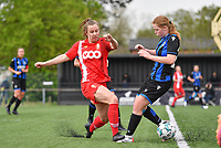 Sophie Cobussen of Standard pictured fighting for the ball with Emely Schapdryver (24) of Club Brugge during a female soccer game between Club Brugge Dames YLA and Standard Femine de Liege on the seventh matchday in Play-Off 1 of the 2020 - 2021 season of Belgian Scooore Womens Super League , saturday 15 May 2021  in Brugge , Belgium . PHOTO SPORTPIX.BE | SPP | DAVID CATRY