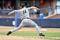 Augusta GreenJackets starting pitcher Seth Corry (14) delivers a pitch during a game against the Asheville Tourists at McCormick Field on April 7, 2019 in Asheville, North Carolina. The GreenJackets  defeated the Tourists 11-2. (Tony Farlow/Four Seam Images)