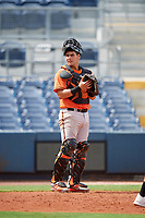 Baltimore Orioles catcher Jose Montanez (73) during a Florida Instructional League game against the Tampa Bay Rays on October 1, 2018 at the Charlotte Sports Park in Port Charlotte, Florida.  (Mike Janes/Four Seam Images)