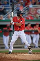 Batavia Muckdogs Andres Sthormes (44) at bat during a NY-Penn League game against the State College Spikes on July 3, 2019 at Dwyer Stadium in Batavia, New York.  State College defeated Batavia 6-4.  (Mike Janes/Four Seam Images)