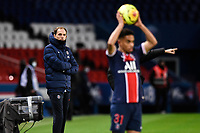 24th December 2020; Paris, France; French League 1 football, Paris St Germain versus Strasbourg;   Thomas Tuchel  trainer PSG watches his team take a throw in during his last game as manager