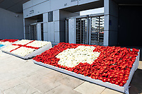 25th March 2021; Stadium Bonifika, Obalno-kraska Slovenia; U-21 European Championships, England versus Switzerland, Group stages;  Flowers decorate the exterior at Bonifika Stadium before the game
