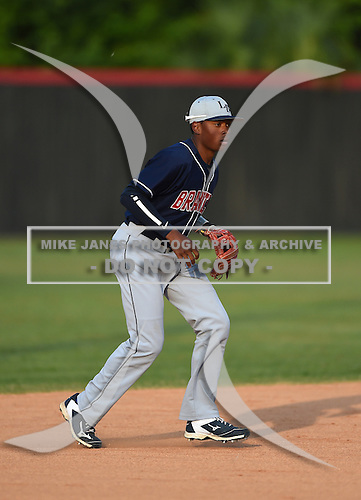 Lake Brantley Patriots Harrison Ray (09) during practice before a game against the Lake Mary Rams on April 2, 2015 at Allen Tuttle Field in Lake Mary, Florida.  Lake Brantley defeated Lake Mary 10-5.  (Mike Janes Photography)