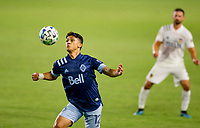 CARSON, CA - OCTOBER 18: Fredy Montero #12 of the Vancouver Whitecaps traps the ball during a game between Vancouver Whitecaps and Los Angeles Galaxy at Dignity Heath Sports Park on October 18, 2020 in Carson, California.