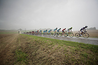 the peloton has been caught by a severe thunder storm early on in the stage and has to face brutal rain and winds for a good few kilometers<br /> <br /> 2014 Tour de France<br /> stage 19: Maubourguet - Bergerac (208km)