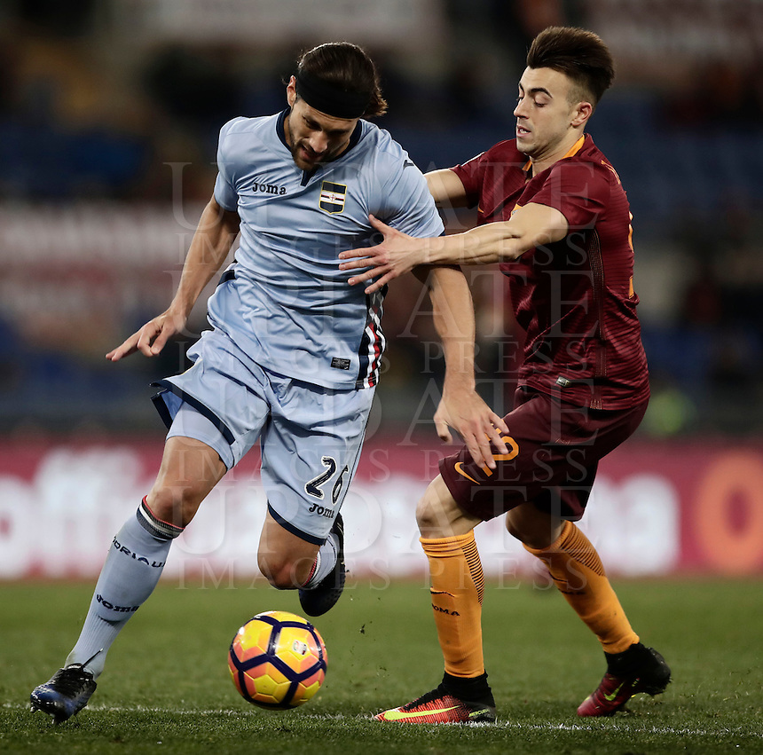 Calcio, ottavi di finale di Tim Cup: Roma vs Sampdoria. Roma, stadio Olimpico, 19 gennaio 2017.<br /> Sampdoria's Matias Silvestre, left, is challenged by Roma's Stephan El Shaarawy during the Italian Cup round of 16 football match between Roma and Sampdoria at Rome's Olympic stadium, 19 January 2017.<br /> UPDATE IMAGES PRESS/Isabella Bonotto