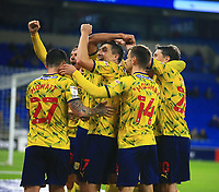 28th September 2021; Cardiff City Stadium, Cardiff, Wales;  EFL Championship football, Cardiff versus West Bromwich Albion; West Bromwich Albion celebrate in front of the travelling supporters after going 0-4 up in the second half