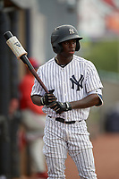GCL Yankees East D'Vaughn Knowles (4) on deck during a Gulf Coast League game against the GCL Phillies East on July 31, 2019 at Yankees Minor League Complex in Tampa, Florida.  GCL Phillies East defeated the GCL Yankees East 4-3 in the second game of a doubleheader.  (Mike Janes/Four Seam Images)
