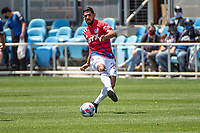 SAN JOSE, CA - APRIL 24: Franco Jara #29 of FC Dallas passes the ball during a game between FC Dallas and San Jose Earthquakes at PayPal Park on April 24, 2021 in San Jose, California.