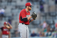 Carolina Mudcats starting pitcher Braden Webb (44) looks to his catcher for the sign against the Winston-Salem Dash at BB&T Ballpark on June 1, 2019 in Winston-Salem, North Carolina. The Dash defeated the Mudcats 5-4 in game two of a double header. (Brian Westerholt/Four Seam Images)