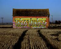 Image: Graffitti on land designated for housing, A14, UK.